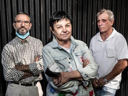 Gloria Iglesias con Pedro Sarabia (izquierda) y Federico Viejo, el pasado 13 de julio en Madrid.