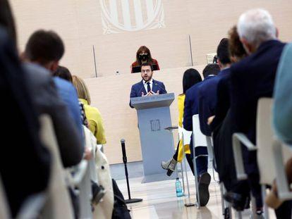Pere Aragonès, durante su intervención en la segunda sesión del debate de su investidura.