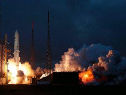 Despegue de un cohete Ariane, el pasado 8 de febrero, en la base de la Agencia Europea del Espacio en Kourou.