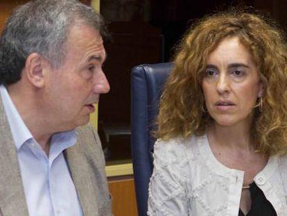 La presidenta de Eudel, Ibone Bengoetxea, este miércoles en el Parlamento vasco.
