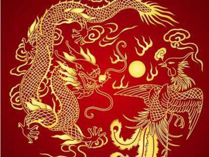 Pintura tradicional china con fénix y dragón.