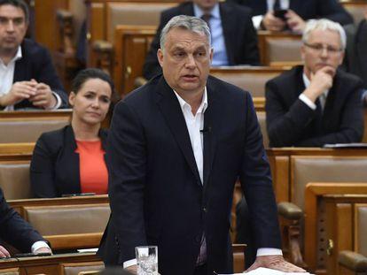 El primer ministro de Hungria, Viktor Orbán, este lunes en el Parlamento en Budapest.