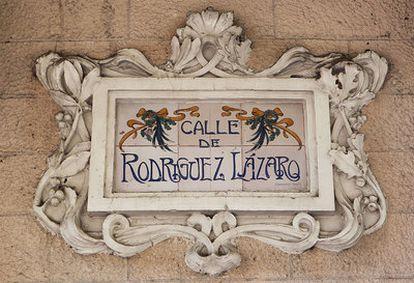 Letrero de una calle de la Colonia de la Prensa en Carabanchel.