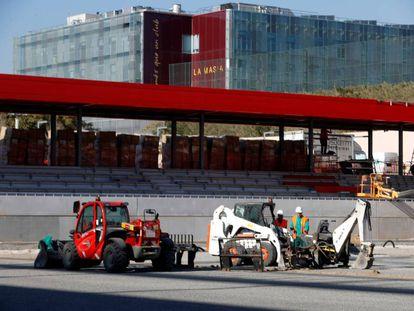Obras en el estadio Johan Cruyff, en la Ciudad Deportiva del Barça
