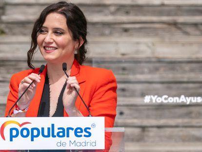 La presidenta de la Comunidad de Madrid y candidata a la reelección, Isabel Díaz, durante la presentación de la candidatura del PP para las elecciones autonómicas del 4 de mayo, este miércoles en el Auditorio del Parque Lineal del Manzanares.