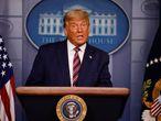 Trump habla desde la Casa Blanca, el jueves.