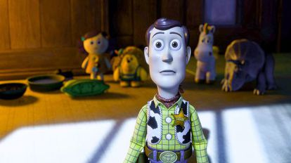 Woody, en 'Toy Story 3', acaba de ver algo que no le gusta nada.