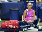 Victoria Azarenka, of Belarus, waits for play to start during a medical timeout by Serena Williams, of the United States, during a semifinal match of the US Open tennis championships, Thursday, Sept. 10, 2020, in New York. (AP Photo/Seth Wenig)