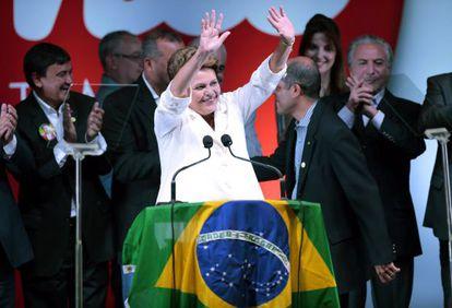 Dilma Rousseff en su primer discurso tras la victoria.