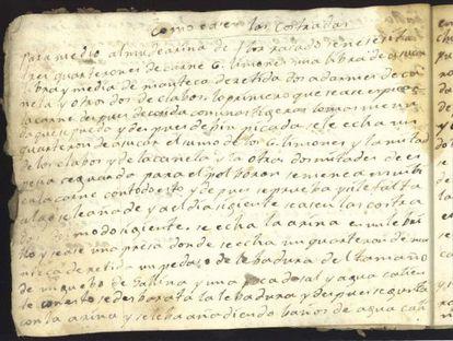 Manuscrito del recetario del siglo XVIII.