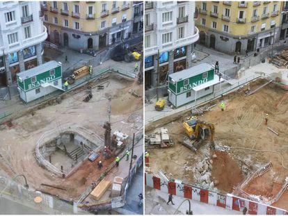 Antes y después de las obras que se están realizando en la estación de metro de Gran Vía.