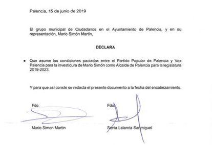 Acuerdo entre Ciudadanos y Vox en Palencia.