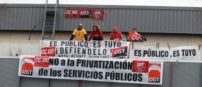 Protesta realizada en el polideportivo en diciembre de 2010.