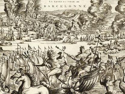 Detalle de una ilustración sobre el primer asedio a Barcelona, datada en 1706, dentro de la exposición 'Memória gráfica de una guerra'.