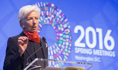 La directora general del Fondo Monetario Internacional (FMI), Christine Lagarde, ayer lunes en Washington.