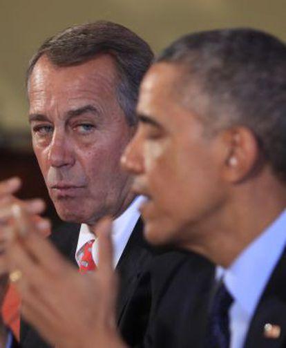 El portavoz del Congreso de EE UU, el republicano John Boehner, con Obama en noviembre.