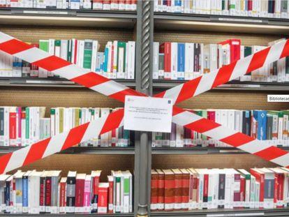 Estantería de la Biblioteca Nacional de España (BNE), en su reapertura hace unos días.