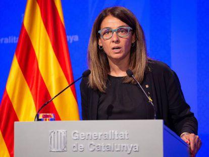La portavoz del Gobierno catalán, Meritxell Budó, el 11 de junio. En vídeo, el momento en el que se niega a responder en castellano.