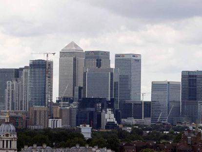 Imagen del distrito de Canary Wharf en el centro de Londres.