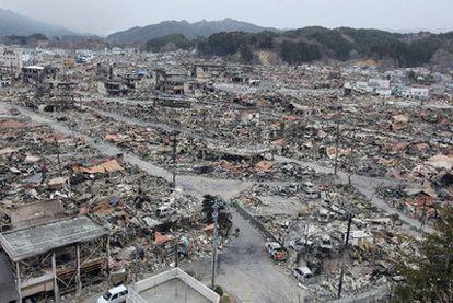 Vista general de la devastación de la ciudad de Yamada.