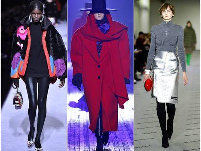 De izquierda a derecha, propuestas con guiños ochenteros de la colección otoño-invierno 2018 de Tom Ford, Marc Jacobs y Balenciaga, respectivamente.
