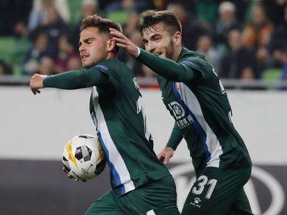 Melendo marca el primer gol del Espanyol en Bulgaria.