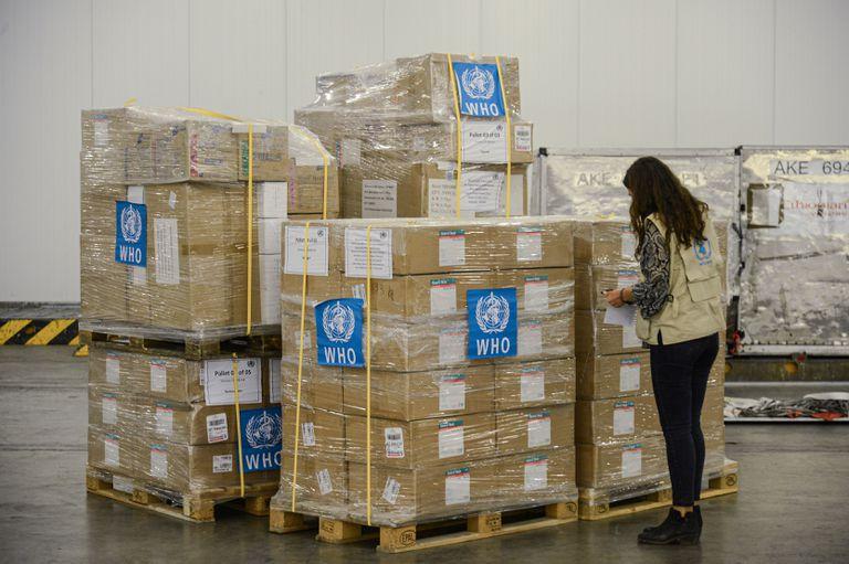 Material sanitario de la OMS en el aeropuerto internacional de Addis Abeba, Etiopía, el pasado 14 de abril.