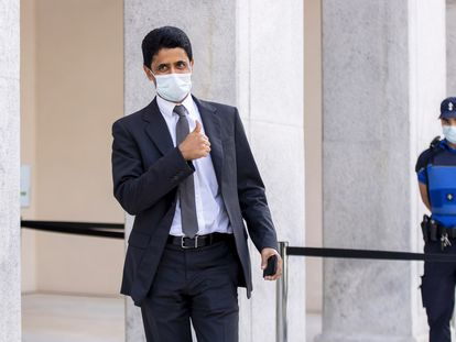 Nasser Al Khelaifi, en el juzgado federal de Bellinzona, en Suiza, el 14 de septiembre.