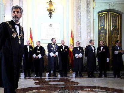 Carlos Lesmes (en primer término), el pasado septiembre durante la apertura del año judicial.