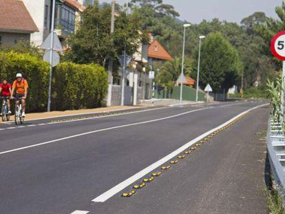 Tramo del carril bici construido por la Xunta a su paso por Nigrán.