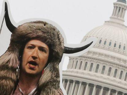 El grupo SumOfUs utilizó recortes de las caras de ejecutivos vestidos como alborotadores del asalto al Capitolio el 6 de enero para protestar por el papel de las plataformas. En la foto, un montaje con la cara de Mark Zuckerberg, CEO de Facebook.