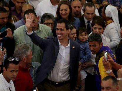 Guaidó, durante su asistencia a una misa en Caracas, el pasado domingo.