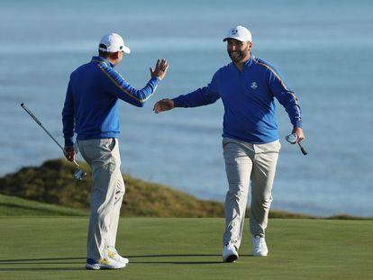 Sergio García y Jon Rahm, este viernes.