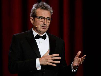 Mariano Barroso, presidente de la Academia de Cine, durante su discurso en la gala de los Goya del pasado febrero.