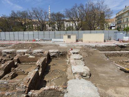 Restos arqueológicos encontrados en la Plaza de la Merced, Málaga.