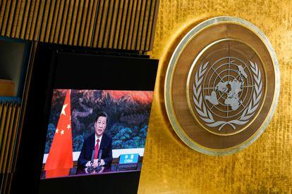 El presidente chino, Xi Jinping, durante su intervención en la 76ª Asamblea General de la ONU.