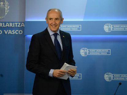 Josu Erkoreka, portavoz del Gobierno vasco, este martes tras el consejo.