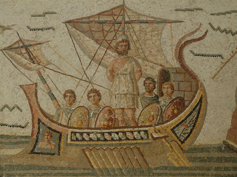 Mosaico de Ulises y las sirenas en el Museo del Bardo, en Túnez.