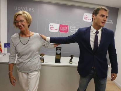 Rosa Díez, líder de UPyD, y Albert Rivera, líder de Ciudadanos, en 2014.