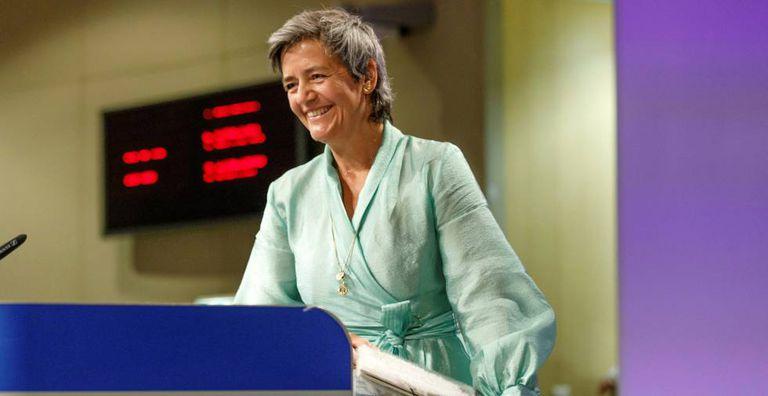 Margrethe Vestager, vicepresidenta de la Comisión Europea, en una rueda de prensa el pasado mes de mayo en Bruselas.