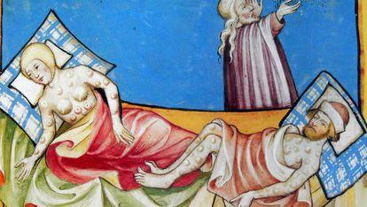 La peste fue retratada en ilustraciones de la Biblia Toggenburg (1411).