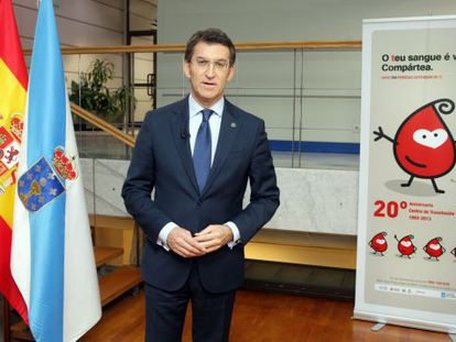Feijóo, durante el discurso grabado en el Centro de Transfusión de Galicia.