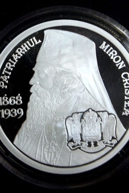 Moneda acuñada por el Banco Central de Rumania con la imagen del ex patriarca de la Iglesia ortodoxa y ex primer ministro, Miron Cristea