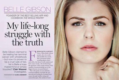 belle Gibson, en las páginas de su confesión en la revista 'Australian Women's Weekly'.