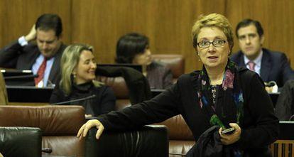 Camen Martínez Aguayo, en su escaño en el Parlamento. Detrás, la diputada del PP Carolina Fernández Vigo.