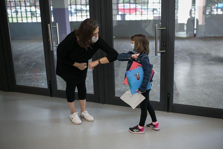 Escuela Els Til.lers, en Barcelona, el 8 de junio, primer día de reapertura del centro.