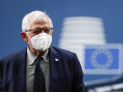 Josep Borrell, en la cumbre europea de Bruselas este viernes.
