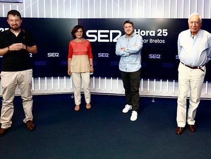 Pablo Iglesias, Carmen Calvo, Aimar Bretos y José Manuel García-Margallo en 'Hora 25'.