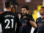 13 March 2021, United Kingdom, London: Manchester City's Sergio Aguero (2nd R) celebrates with his team after scoring their side's third goal during the English Premier League soccer match between Fulham and Manchester City at Craven Cottage. Photo: Catherine Ivill/PA Wire/dpa 13/03/2021 ONLY FOR USE IN SPAIN