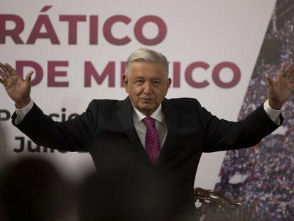 El presidente Andrés Manuel López Obrador, este jueves, en el Palacio Nacional.